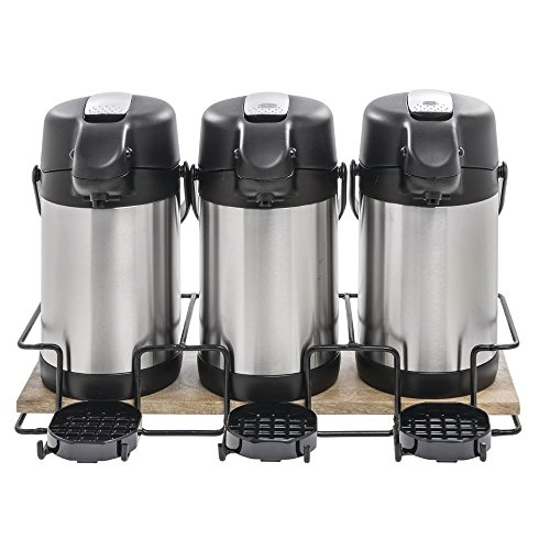 Wooden Airpot Holder For 3 Thermal Airpot Coffee Dispensers Mango Wood - 21 5/8''W x 11 3/16''D x 3 13/16''H by Hubert (Image #1)