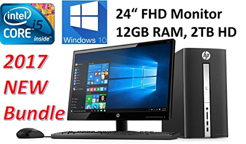 HP Pavilion High Performance Desktop Bundle (2017 ) with 24