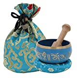 DharmaObjects ~ Tibetan OM MANI Singing Bowl Set ~ With Mallet, Brocade Cushion & Carry Bag ~ For Meditation, Chakra Healing, Prayer, Yoga (Turquoise)