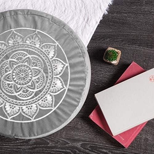 Florensi Cojín de meditación (40,6 x 40,6 x 12,7 cm), almohada de meditación de terciopelo grande, almohada de yoga premium para mujeres y hombres, cojín de yoga, almohadas de meditación para sentarse en el piso, cojines de meditación de trigo sarraceno 5