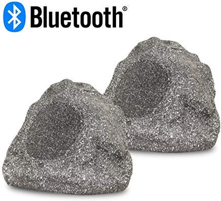 Acoustic Audio RSG6BT Powered Bluetooth Indoor or Outdoor Granite Rock Speaker Pair