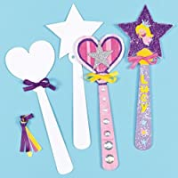 Baker Ross Make Your Own Princess Wand (Pack of 8) Card Blanks for Kids to Decorate, Arts and Crafts