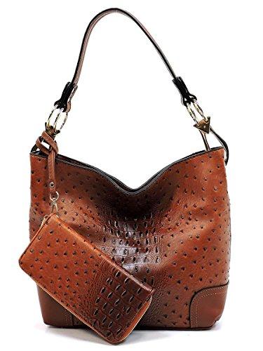 Set Brown Bag Bag Classic Shoulder Elphis Hobo 2 in Handbag 1 Ostrich Croc amp; Wallet Bucket qZfWwT6