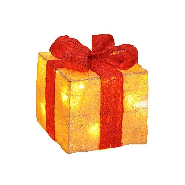 Bambelaa! Led Decorazione Light Gift Boxes - Set di 3 incl. Funzione Timer - Decorazione natalizia Decorazione natalizia Decorazione di Natale Illuminazione (Giallo) 3 spesavip
