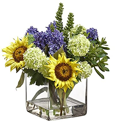 Amazon 15hx15w hyacinth sunflower snowball silk flower 15quothx15quotw hyacinth sunflower snowball silk flower arrangement yellow mightylinksfo