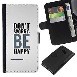 KLONGSHOP // Tirón de la caja Cartera de cuero con ranuras para tarjetas - Don t se preocupe sea feliz - HTC One M9 //
