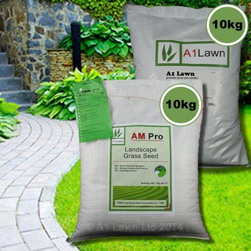 10kg A1LAWN AM PRO LANDSCAPE GRASS SEED & 10kg PRE-SEEDER FERTILISER