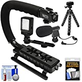 Vidpro VB-12 Stabilizer Hand Grip for DSLR Cameras - Video Camcorders & Action Cameras with Microphone + Flex Tripod + Kit