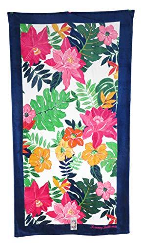 Tommy Bahama 35 x 66 Tropical Pink & Orange Flowers and Leaves Beach - Towel Tommy Home Beach Bahama