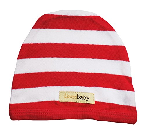 L'ovedbaby Unisex-Baby Organic Infant Cap (3-6 Months, Red/White Stripe) (Red Fine Stripe)