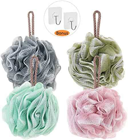 Novosun Loofah Bath Sponge Luffa Loufa Body Scrubber Mesh Pouf Shower Ball,Exfoliating Shower Sponge Pack of 4 (60g/pcs)