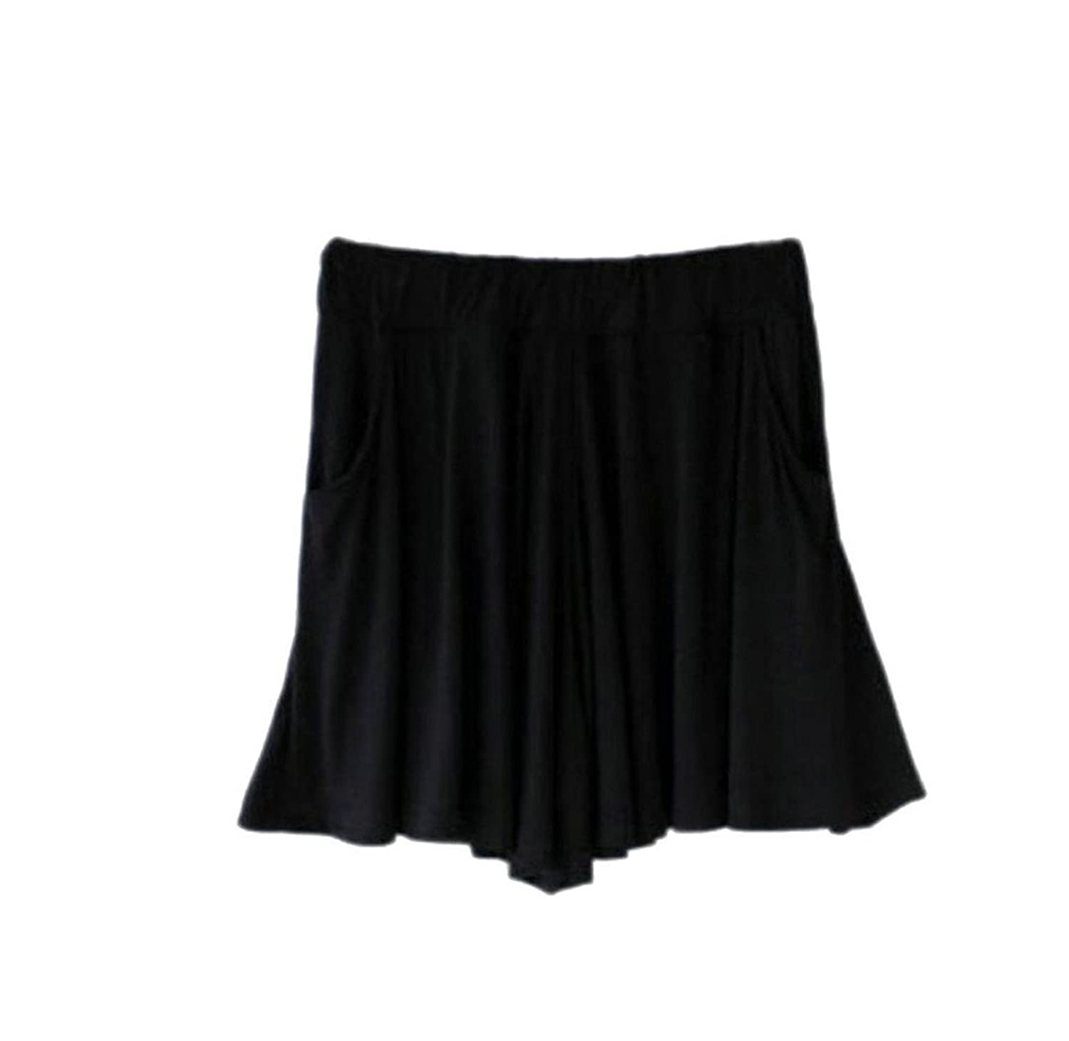 Top CRYYU Women's Casual Solid Loose Elastic Waist Cotton Mini Shorts
