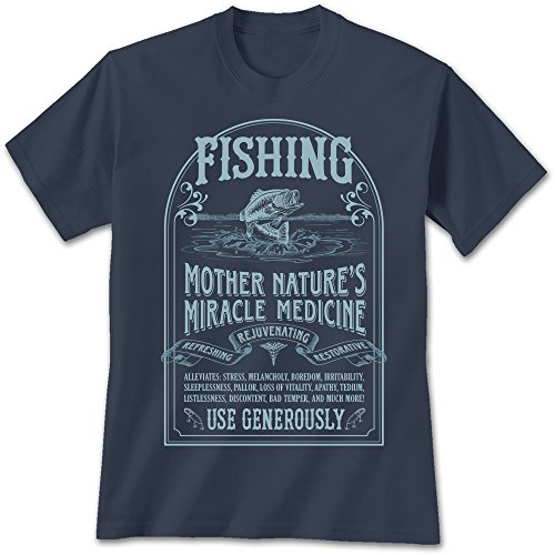 Price comparison product image Mother Nature Fishing Miracle Medicine T-Shirt Medium,  Funny Bass Shirt