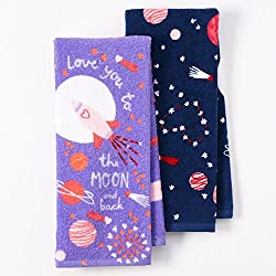 "Happy Valentine's Day Velour Kitchen Dish Towels 2 Pack, ""Love You to the Moon and Back"""