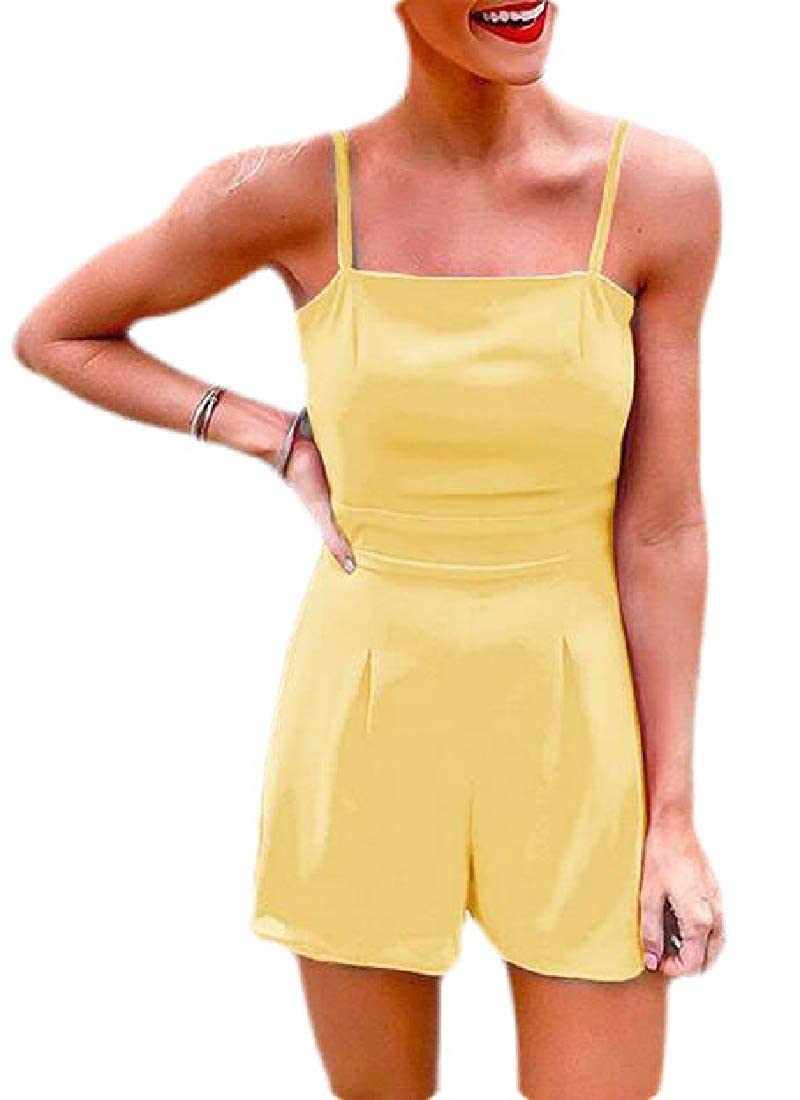 Fubotevic Women Spaghetti Strap Backless Pure Color Hollow Out Short Jumpsuit Romper