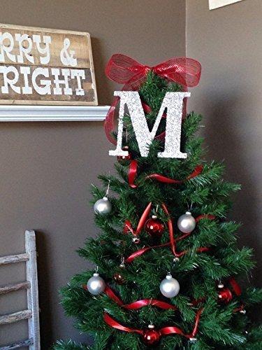 "Decorative 9"" Silver Glitter Monogram Christmas Tree Topper, Letter  Wreath, Initial, Wedding - Amazon.com: Decorative 9"