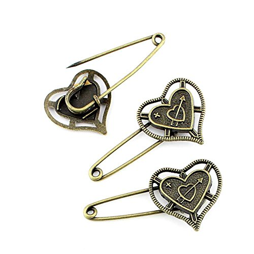Qty:10PCS Antique Bronze Jewelry Making Charms Findings Supplies Wholesale Ancient Fashion Bulk Bronze Retro Supply Z715550 Love Pin Brooch