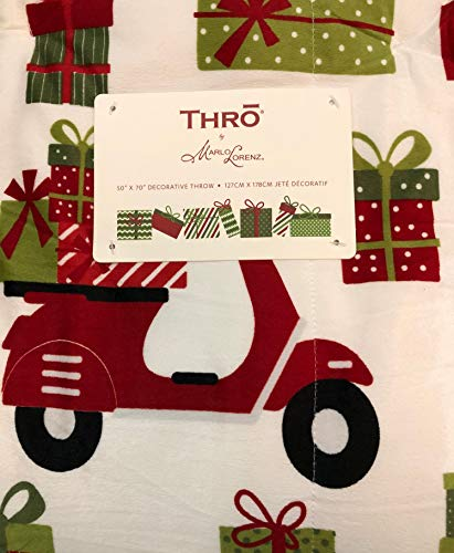 Thro Whimsical Holiday Presents Scooter Hedgehog 50 X 70 Throw Blanket White Sherpa Reverse Cute Decorative Plush Festive (Marlo Lorenz Christmas)