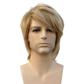 GAIHU hombre recto corto color rubio cabello pelucas Cosplay Costume Party sintético resistente al calor guapo