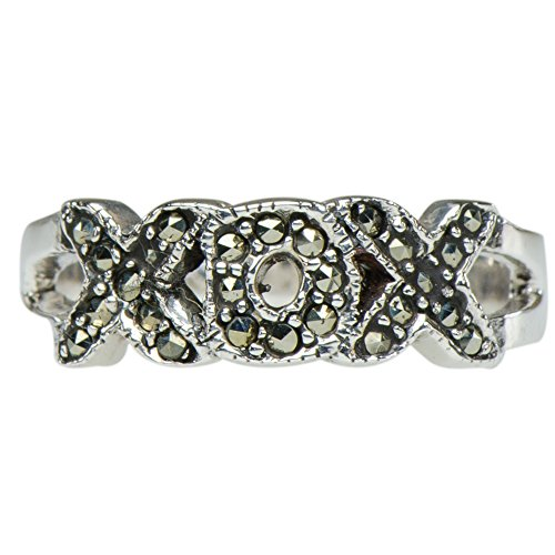 Caratera Fine Jewelry Vintage Marcasite Loving XOX Ring 925 Silver (Collection Xox)