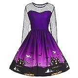 iYBUIA New Autumn Halloween Women's Vintage O-Neck Print Long Sleeve A-Line Swing Dress