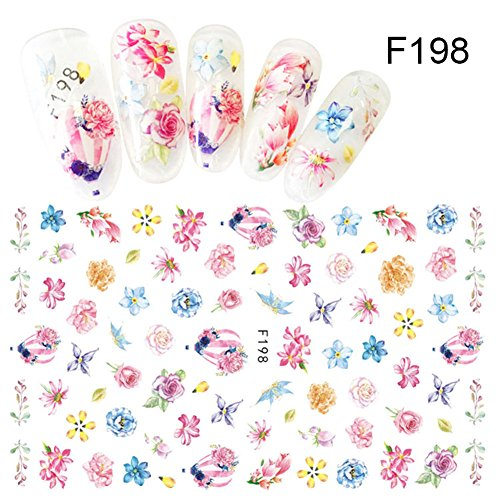 CoulorButtons 1 Sheet Colorful Succulent Plants Flower 3D Nail Sticker Adhesive Nail Transfer Sticker (Halloween Nail Stickers Uk)