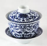 "Bana Chrysanthemum and Fishes ""Blue and White"" Chinese Porcelain Gaiwan and Pu-erh Tea Sample"