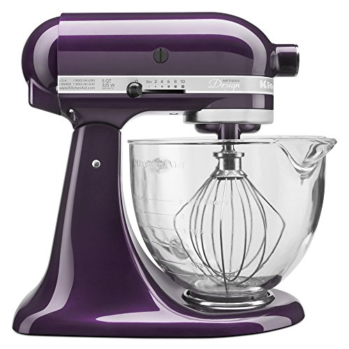 KitchenAid KSM155GBPB 5-Qt. Artisan Design Series with Glass Bowl - Plumberry (Stand Mixer Purple)