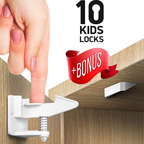 Kitchen Cabinet Locks Child Safety – Adhesive Child Proof Cabinet Locks – Baby Safety Cabinet Locks – Quick and Easy Child Locks for Cabinets and Drawers – BONUS Corner & Door Guards, Socket Covers