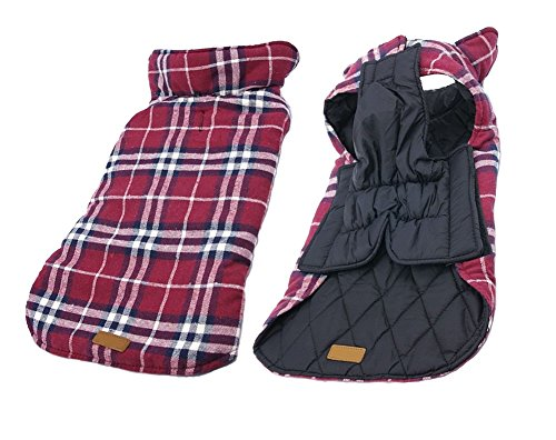 iToolai Dog Costumes Winter for Big Dogs Jackets Plaid Reversible Waterproof Vests (Dog Costume Dog Carrying Present)