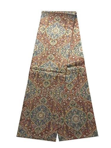 管理歌見出しリサイクル 丸帯  紗刺し刺繍 草花の装飾文様 正絹