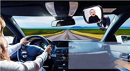 Price comparison product image Yiwa Baby Car Mirror Rear Facing - View Infant/Toddler In Back Seat - Shatter-proof Safety - New Sucktion Cup on Windshield or Clip on Car Sun Visor
