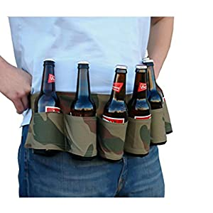 TrendBox Portable 6 Bottles Beer Soda Can Soft Drink Belt Holder Holster Carry Bags Waist Pack For Outdoor Sports Running Hiking Camping Picnic - Blue