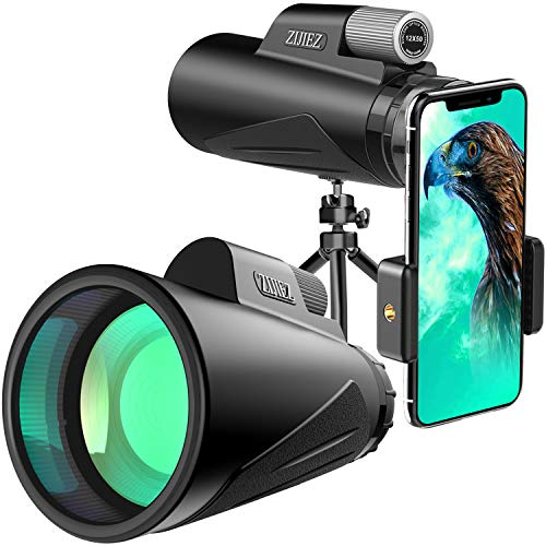 Monocular Telescope,12X50 High Power Monocular with Phone Mount & Tripod Monocular Compact Waterproof Fog-Proof Shockproof Scope BAK4 Prism FMC for Bird Watching Wildlife Hunting Traveling.(ZIJIEZ)