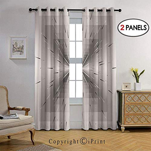 Blackout Curtains for Bedroom - Grommet Thermal Insulated Room Darkening with Ombre Lines Optical Illusion Deep Perspective Modern Design Printed Curtains for Living Room, Set of 2 Panels (38 x 108