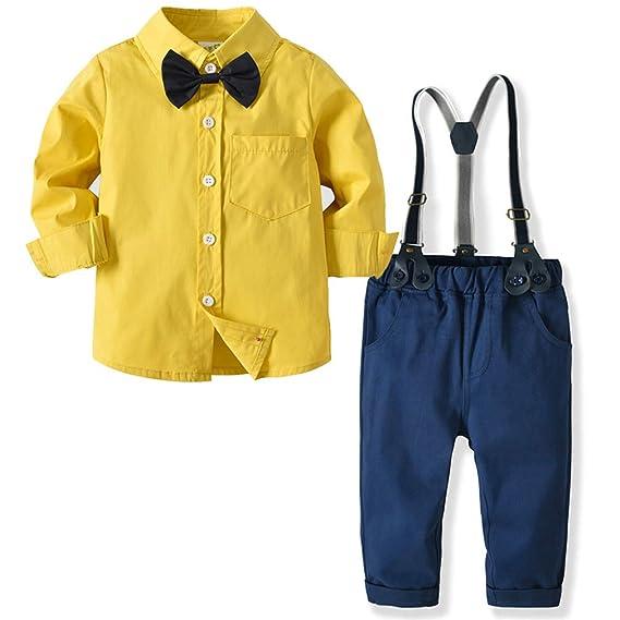 CARETOO Baby Jungen Bekleidungssets 100% Baumwolle Mantel+Langarm Hemd+Hose+Hosenträger+Fliege Krawatte Anzug Gentleman Festl