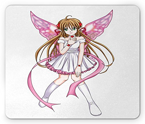 Pixie Slip (Anime Mouse Pad by Ambesonne, Cartoon Illustration of a Pixie Character with Hearts and Wings Fantastic Fairy Angel, Standard Size Rectangle Non-Slip Rubber Mousepad, Multicolor)