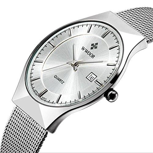 Genießen Armbanduhren Automatik Chronograph Uhr Edelstahl Uhrarmband Elegant (Weiß)