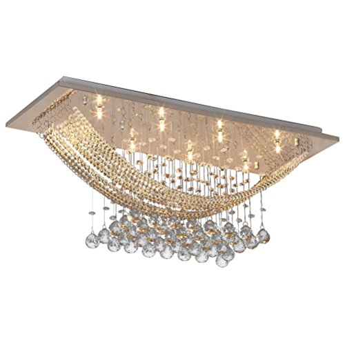 Lightess Modern K9 Crystal Ceiling Light Fixture Flush Mount Chandeliers with 8 Lights