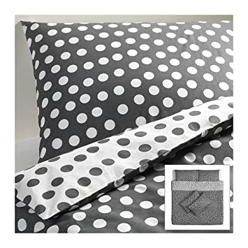 IKEA STENKR - Quilt cover and 4 pillowcases, white, grey ... on