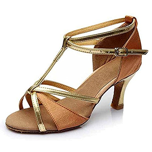 Latin Dance Sandals Leather Salsa Ballroom Soft Soles Hebilla De Zapatos Para Mujeres Brown