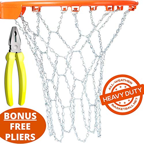 BETTERLINE Basketball Net Heavy Duty Metal Chain Replacement with 12 S-Hooks and Set of Pliers to Tighten Hooks | Rustproof Galvanized Iron 21-Inch (53 cm) Net