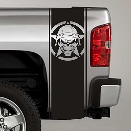 Jeepazoid - Truck Bed Stripe Decal - Soldier Skull & Army Star Universal Fit - Black Sticker - (Pair - Left and Right) ()