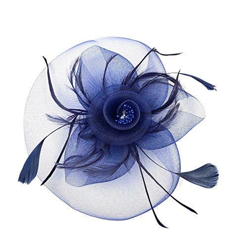 JZK Azul tocados de Pelo Banquete Diadema Plumas Fascinator Sombrero con Horquilla  para Mujer Vintage de cóctel Fiesta Accesorio  Amazon.es  Juguetes y ... d7dd1b07185c