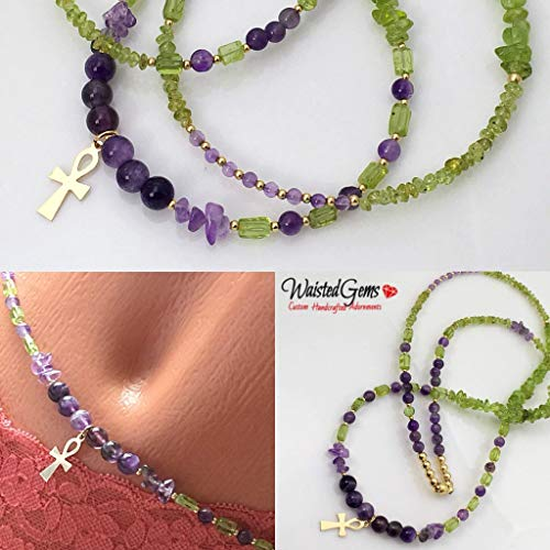 14k Peridot and Amethyst, African Waist Beads Waist Beads, Leo Birthday Waistbeads, Leo Birthday gifts, belly chain, body Jewelry, gemstone