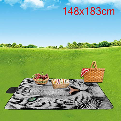 CapsA 3D Digital Printing Picnic Mat for Travall Outdoor Full Polyester Oxford Cloth Handle Design Lightweight Foldable Camping Blankets