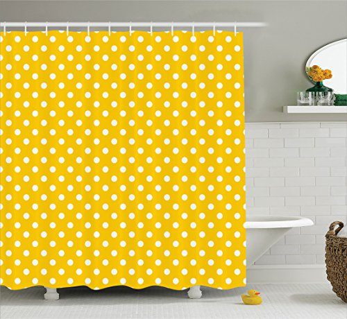 Bath Row Kids (Ambesonne Polka Dots Home Decor Collection, Traditional Polka Dots Motif in Row on Sunny Colored Backdrop Girls Boho Decor, Polyester Fabric Bathroom Shower Curtain, 75 Inches Long, Yellow White)