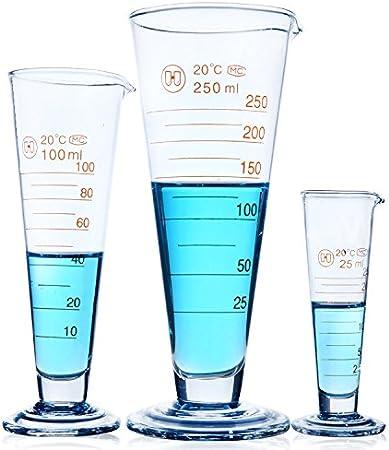 Taza medidora cónica, vaso medidor de cristal de laboratorio, vasos graduados de medición de calidad alimentaria, vaso de cristal para leche y zumo, taza de laboratorio, taza de 100 ml transparente