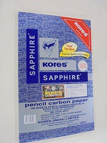 Kores Pen/Pencil Carbon Paper,Sapphire Blue - Pack of 100 Sheets Premium Quality