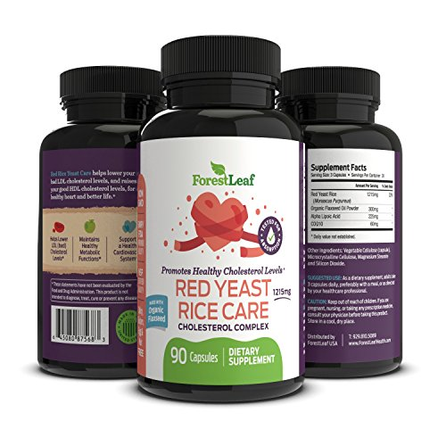 Red Yeast Rice Care with COQ-10 and Organic Flaxseed - Supports Cardiovascular Health - 1215mg - 90 Vegetable Capsules - Daily Dietary Supplements by Forestleaf
